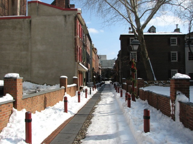 A view of the historic alley looking east from 2nd Street.