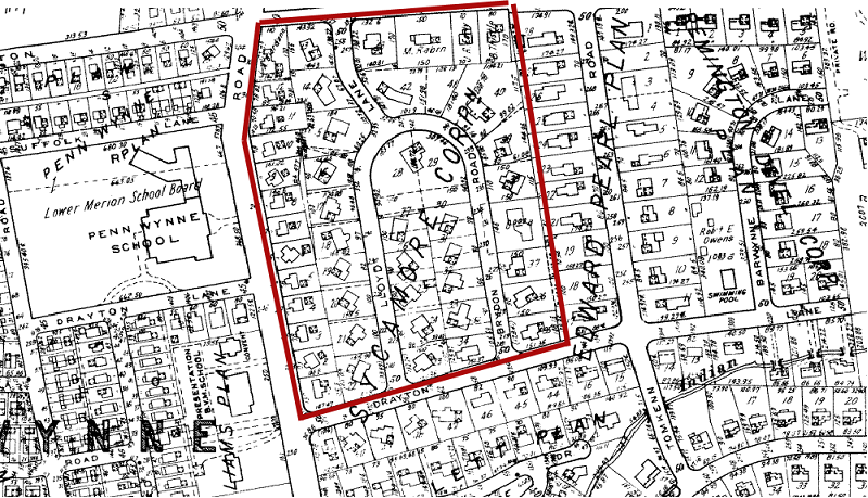 A 1961 map shows how most of the houses in the development sit off-kilter in their lots.