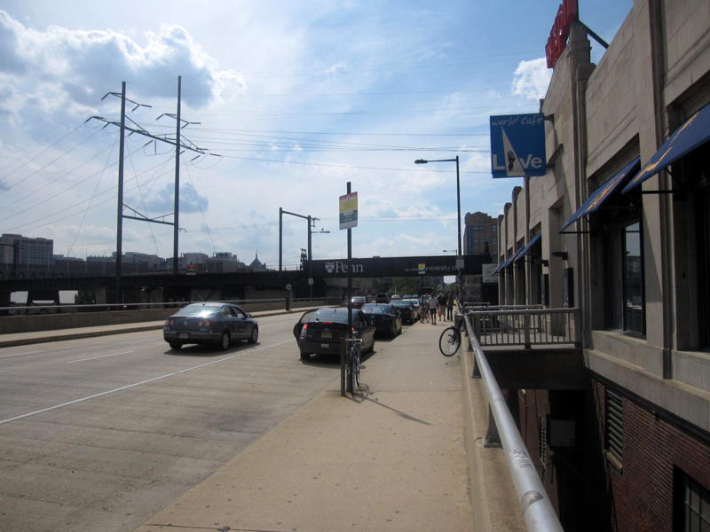 Trophy Bikes owner Mike McGettigan is concerned about the speed of cars on the Walnut Street Bridge, especially outside of the W