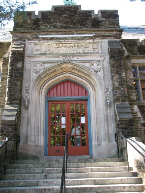 The entrance on Warden Drive reflects the grandeur of many of the Carnegie libraries.