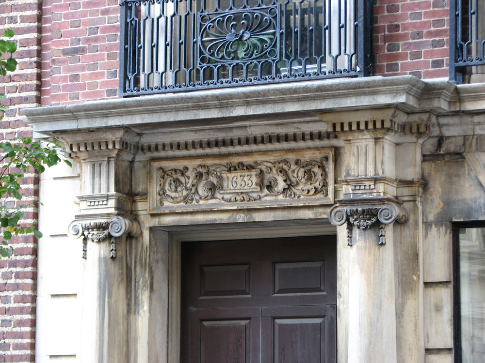 Detail of a Cope & Stewardson house on Locust Street.
