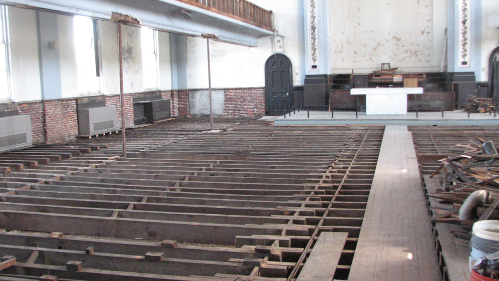 The Lutheran congregation removed but has said it will replace the flooring of the main sanctuary.