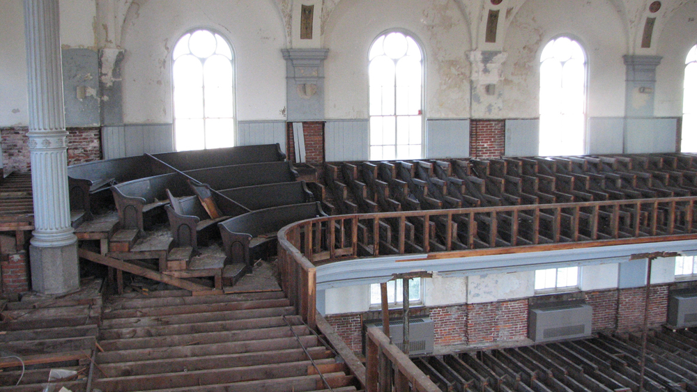 Most of the pews were also removed by the former congregation.