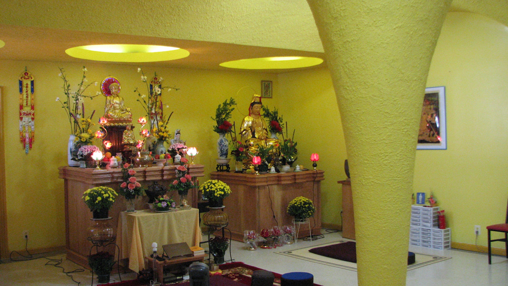 Buddhist shrines in the new Phat Quang Temple.