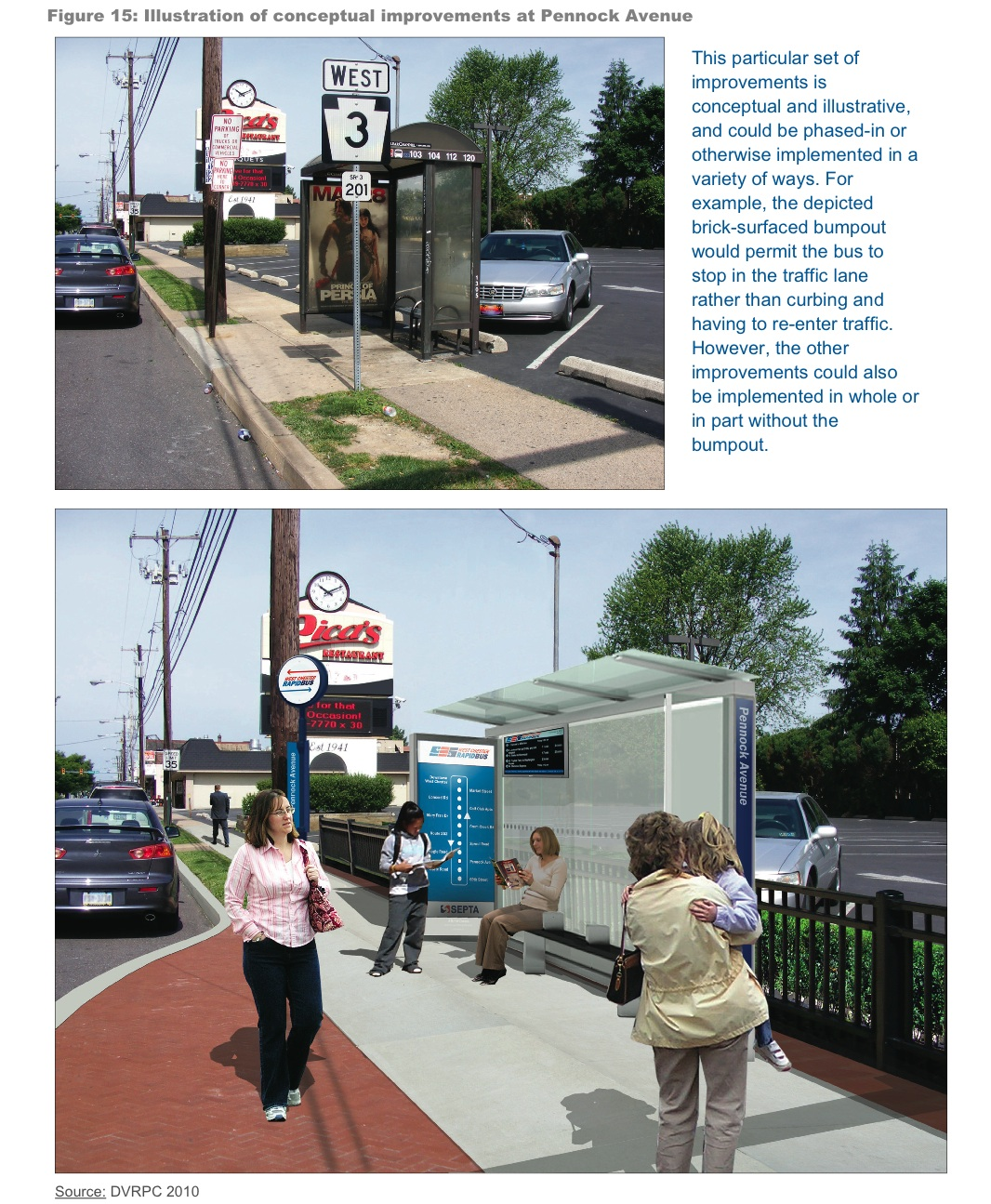 A conceptual drawing of the new bus shelters proposed in the study.