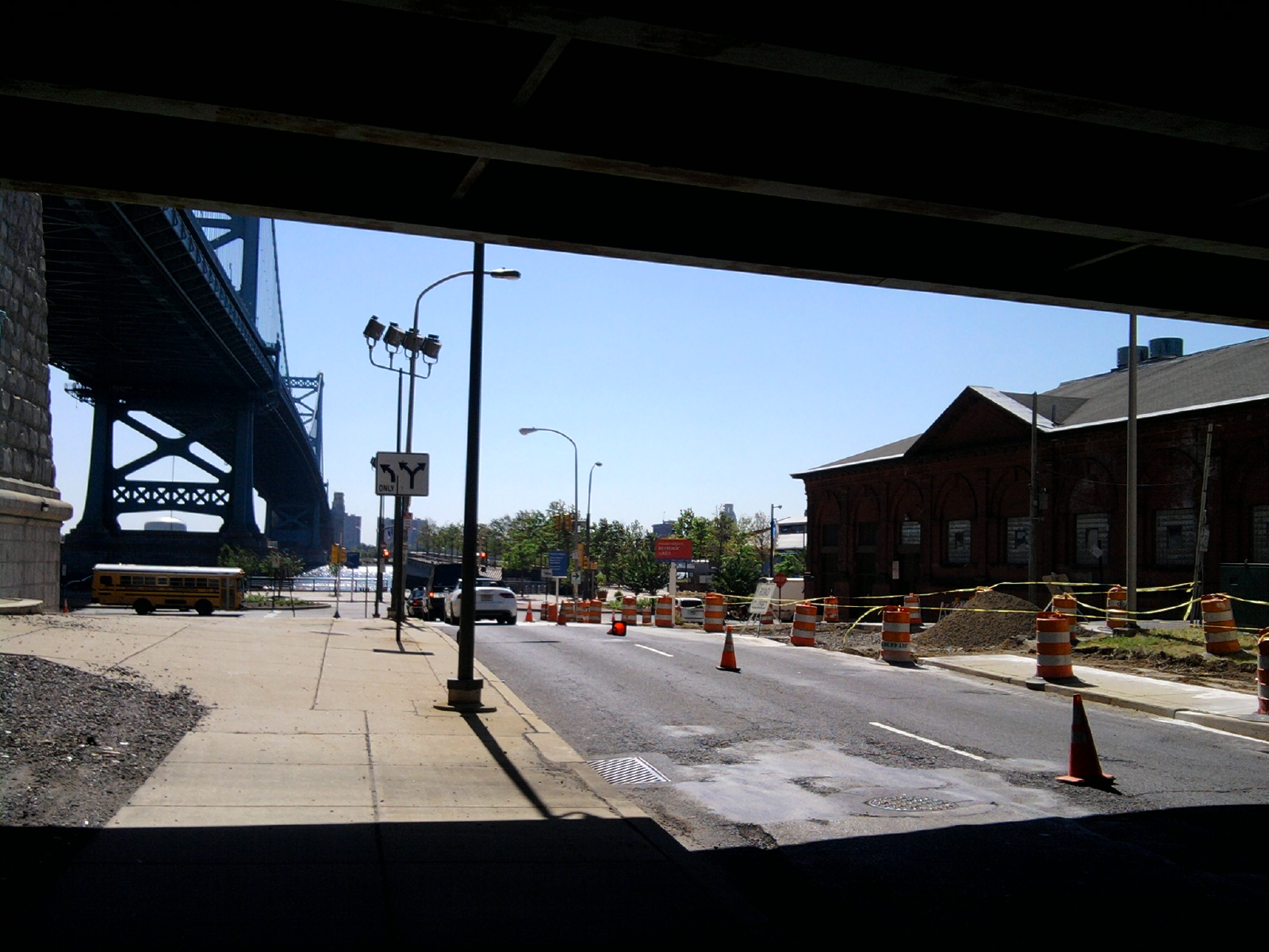 The view from beneath the overpass, toward Race Street Pier