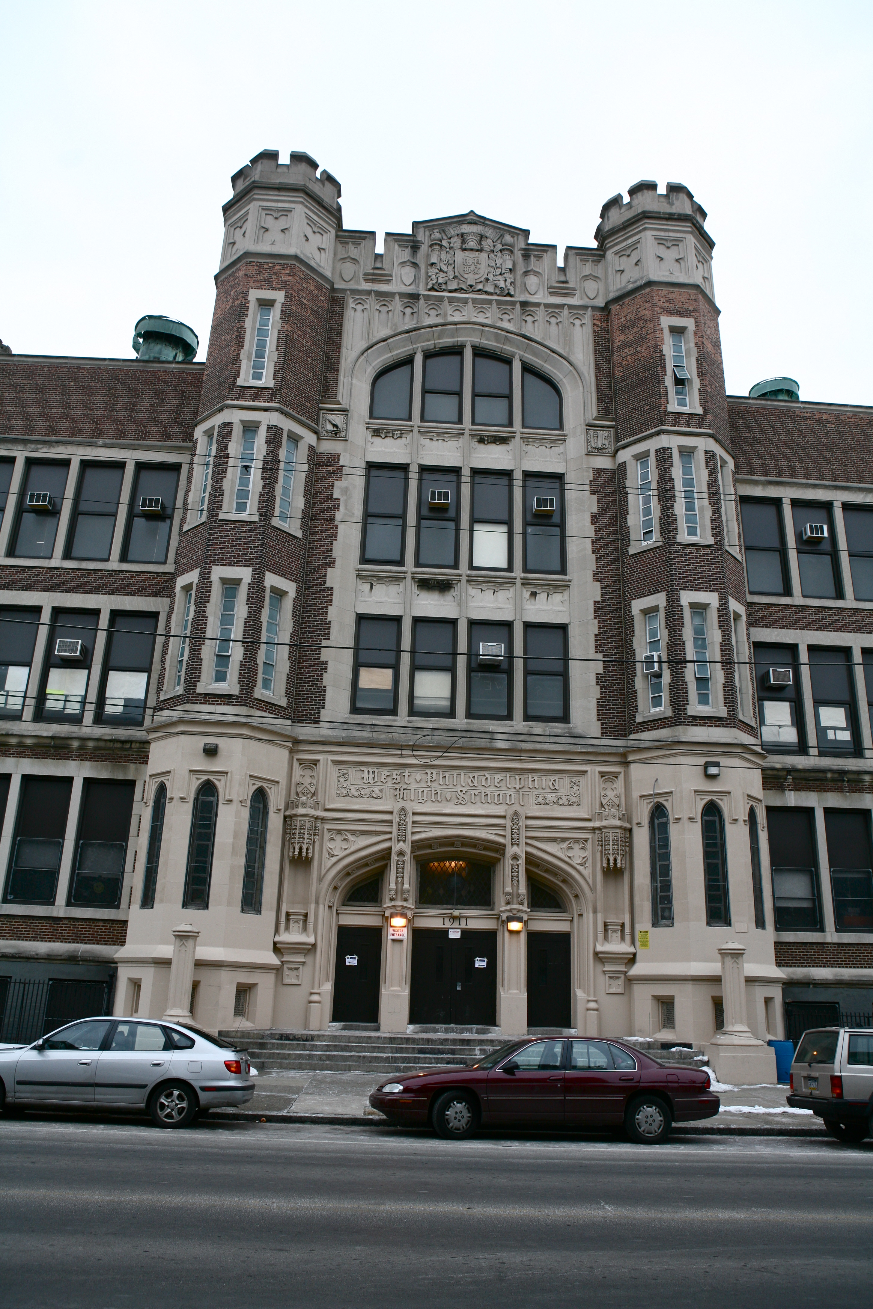 West Philadelphia High School, a five-story, brick and limestone structure built in 1911-1912 at a cost of $1.3 million.