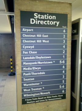 The new station directory at 30th Street Station