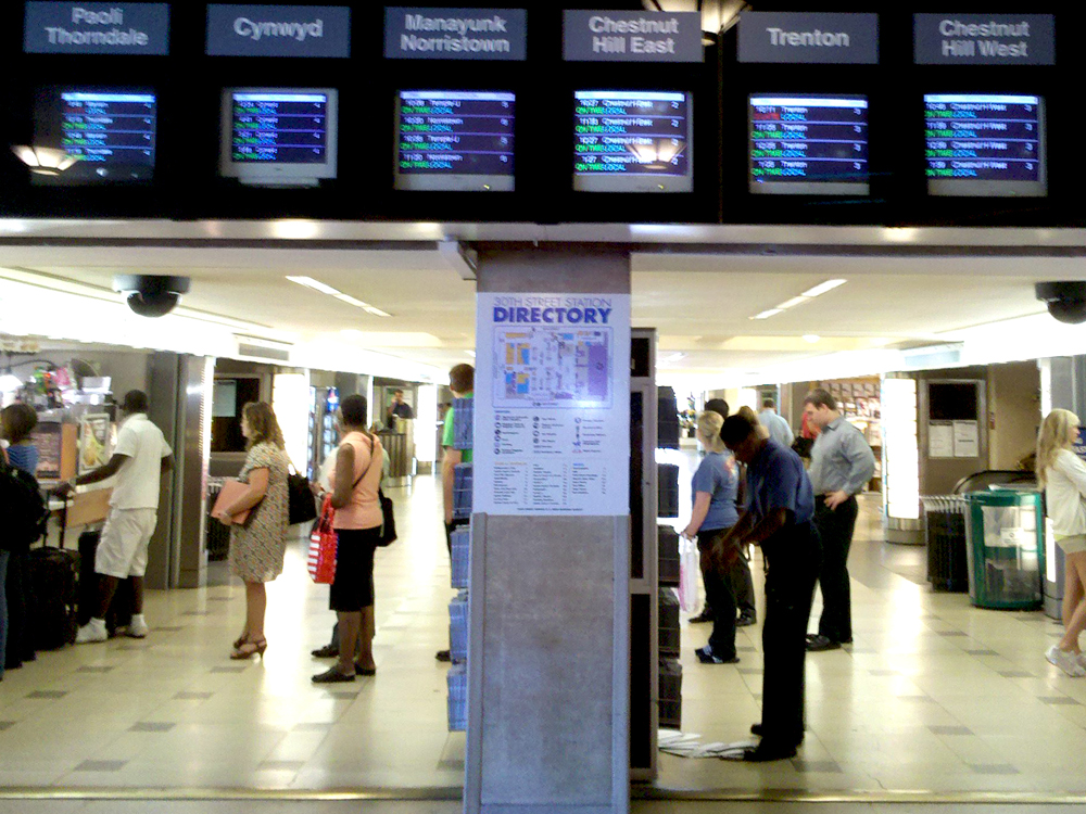 SEPTA replaced signage around television displays at 30th Street Station.