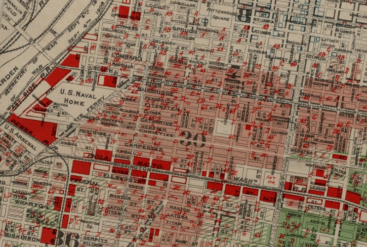 J.M Brewer's 1934 map shows appraisals of property risk, marked in red, in Southwest Center City.