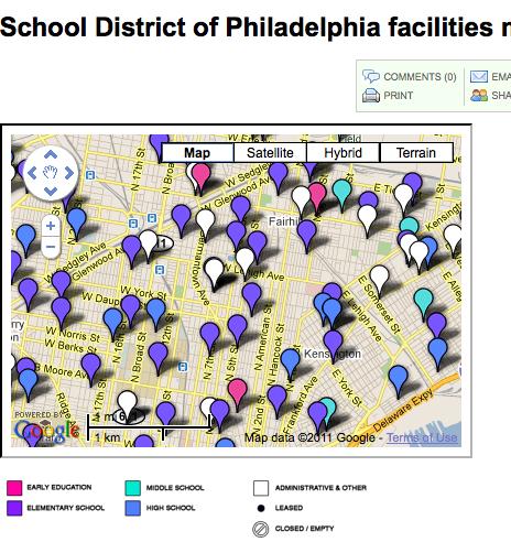 New School District of Philadelphia facilities map - WHYY
