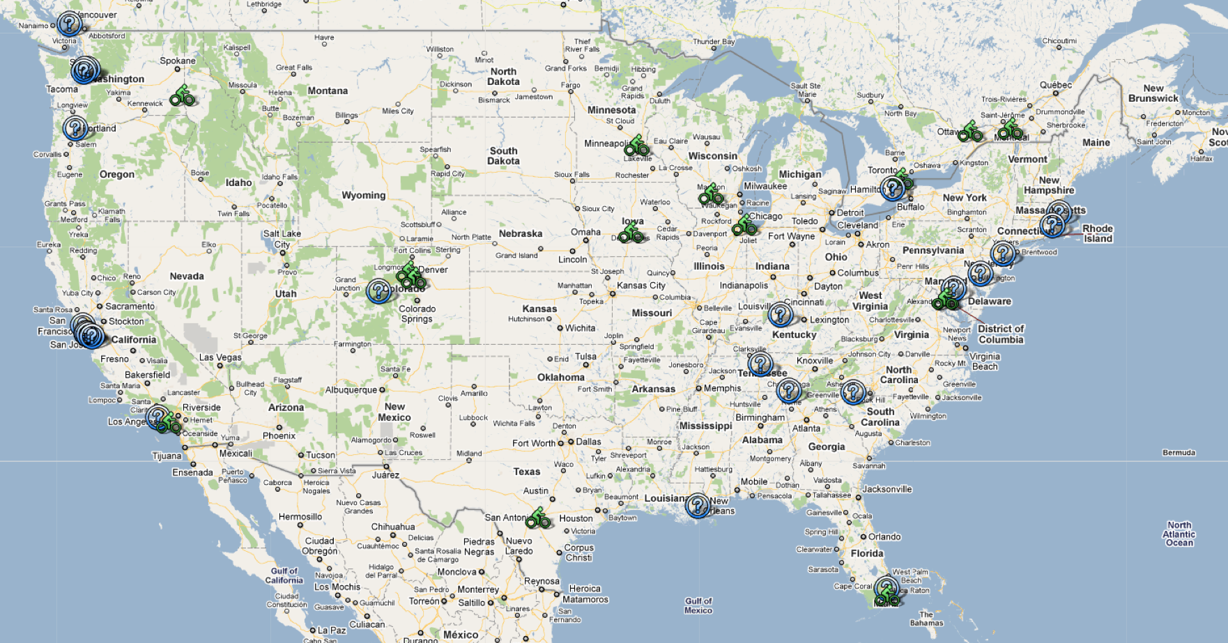U.S. map showing all current and possible bike share programs (The Bike-sharing Blog)