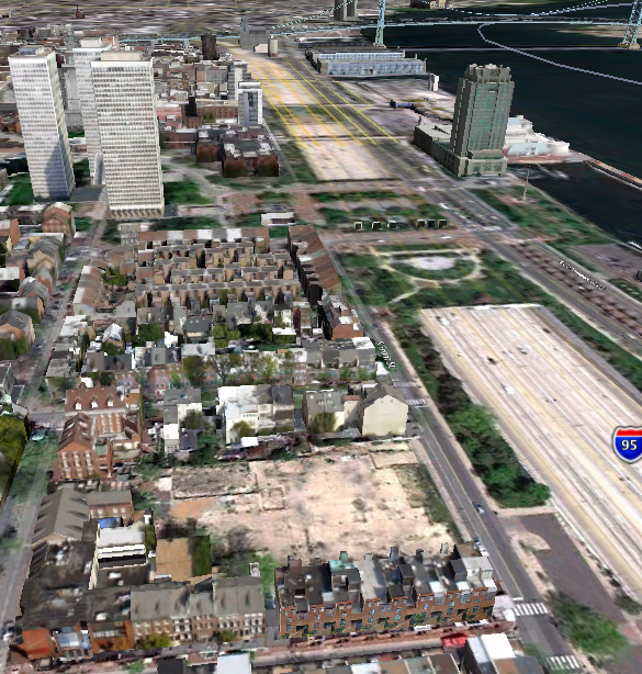 Stamper Square plot — the empty lot in the bottom, center — as seen by Google Earth in July '10