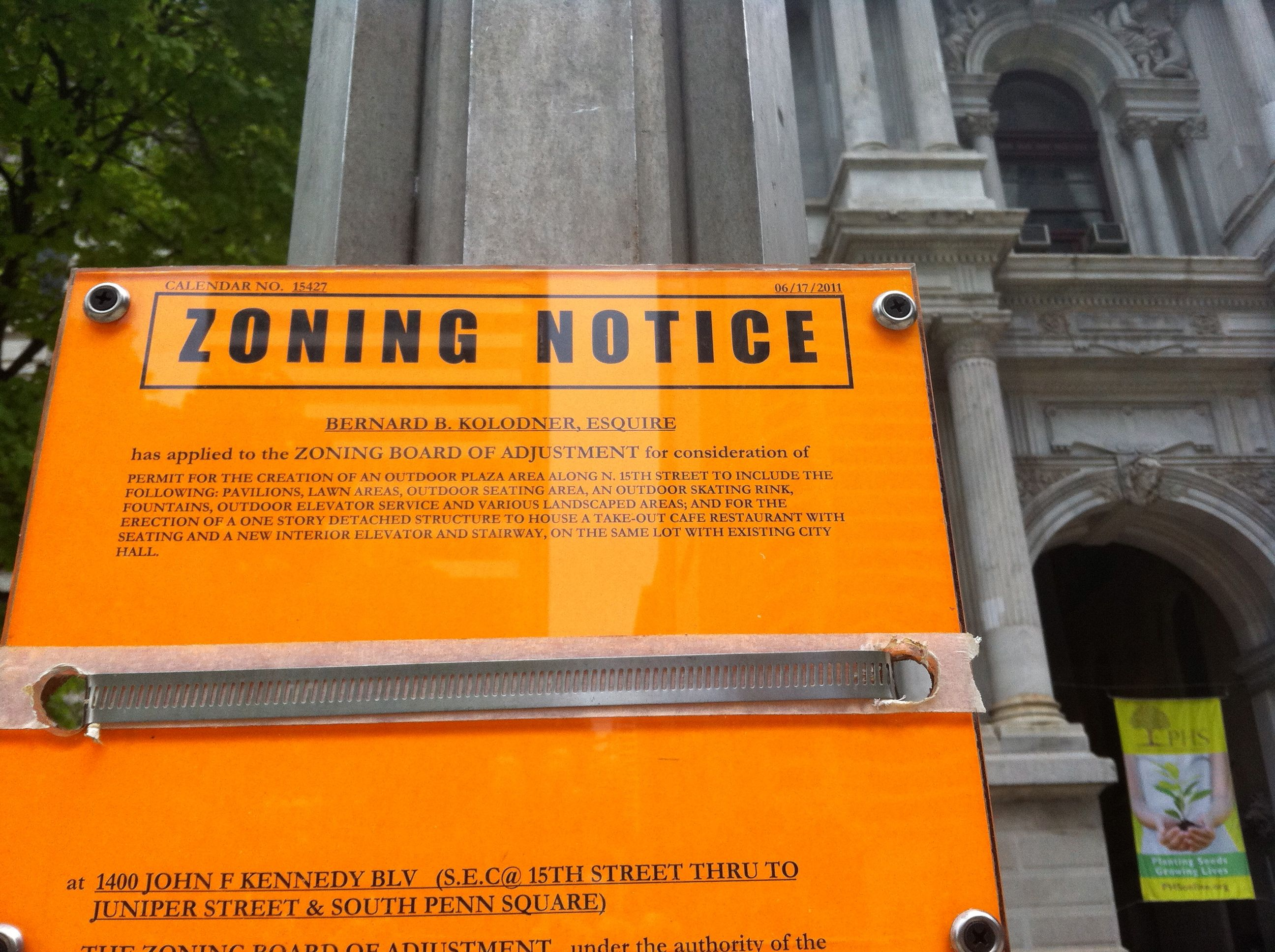 Zoning notice for Dilworth Plaza