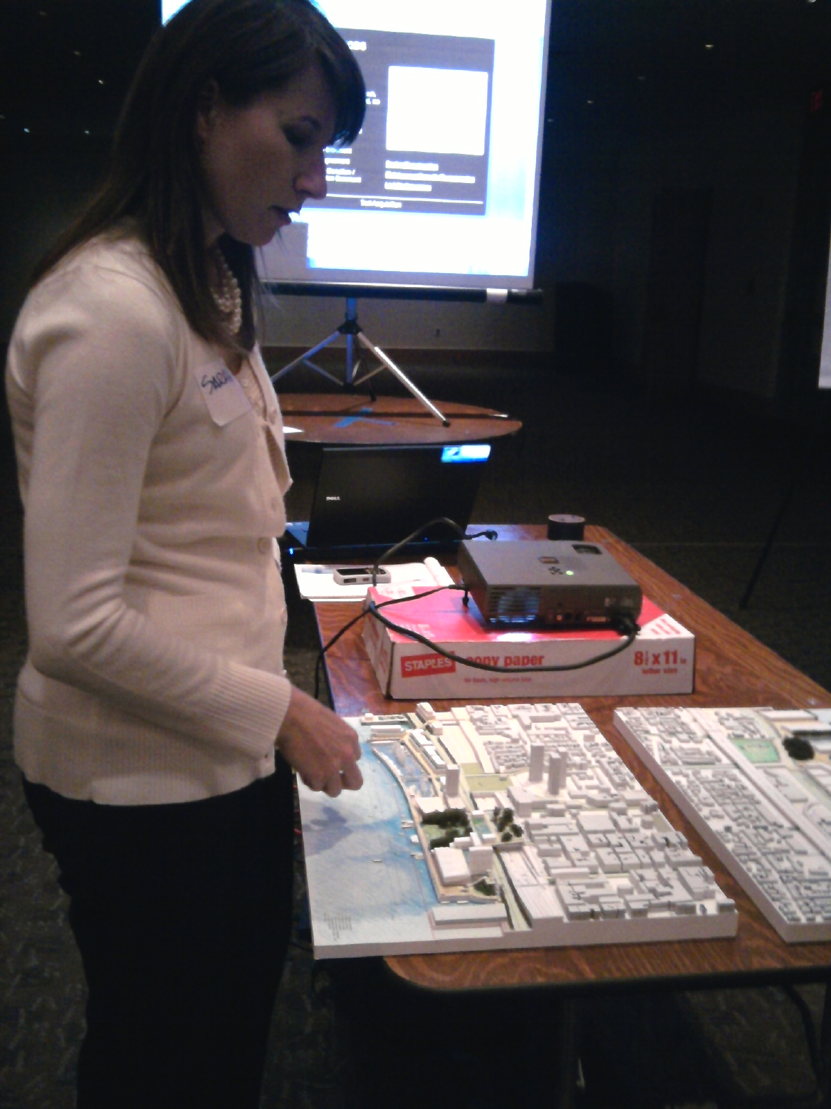 Master Plan Manager Sarah Thorp with a model of the vision for Penn's Landing