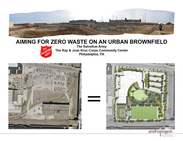 Zero waste on urban brownfield. Credit: Andropogon Associates and MGA Partners