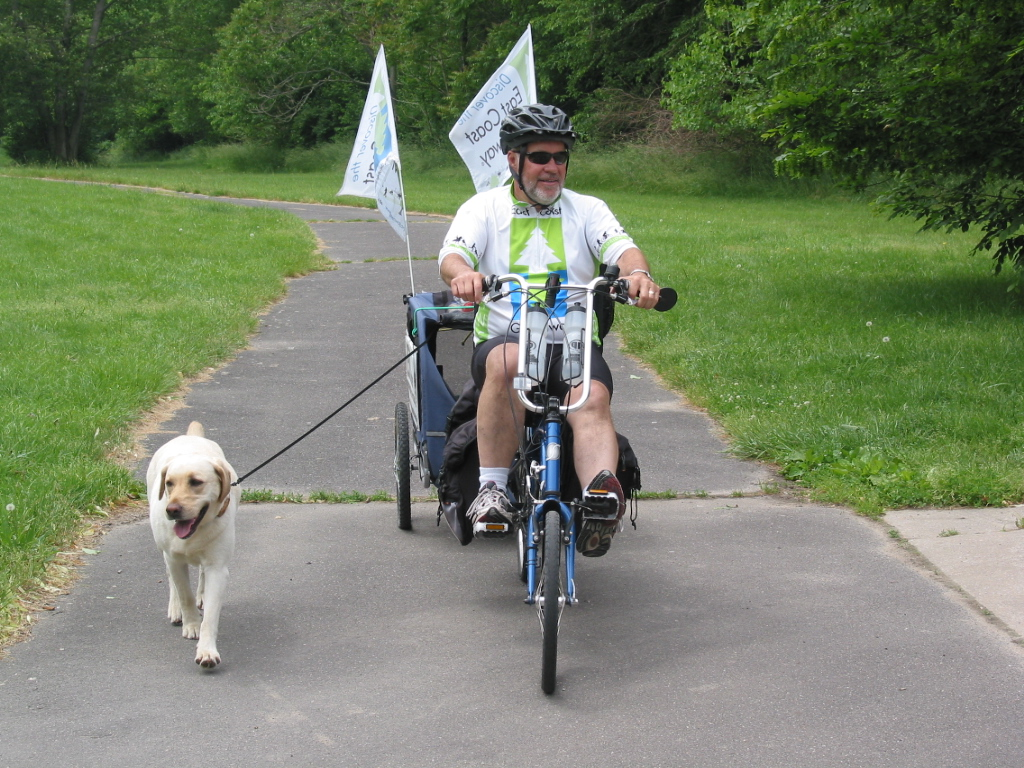 Dan McCrady and his dog Sadie biked much of the East Coast Greenway route last spring