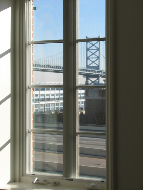 A third-floor view of the Ben Franklin Bridge from the Old City Mercantile.
