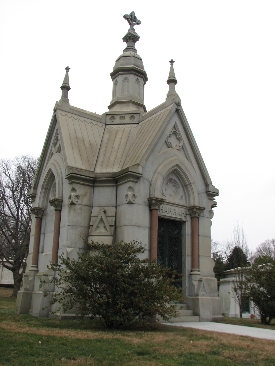 The Harrah family modeled their resting place after a Gothic chapel.