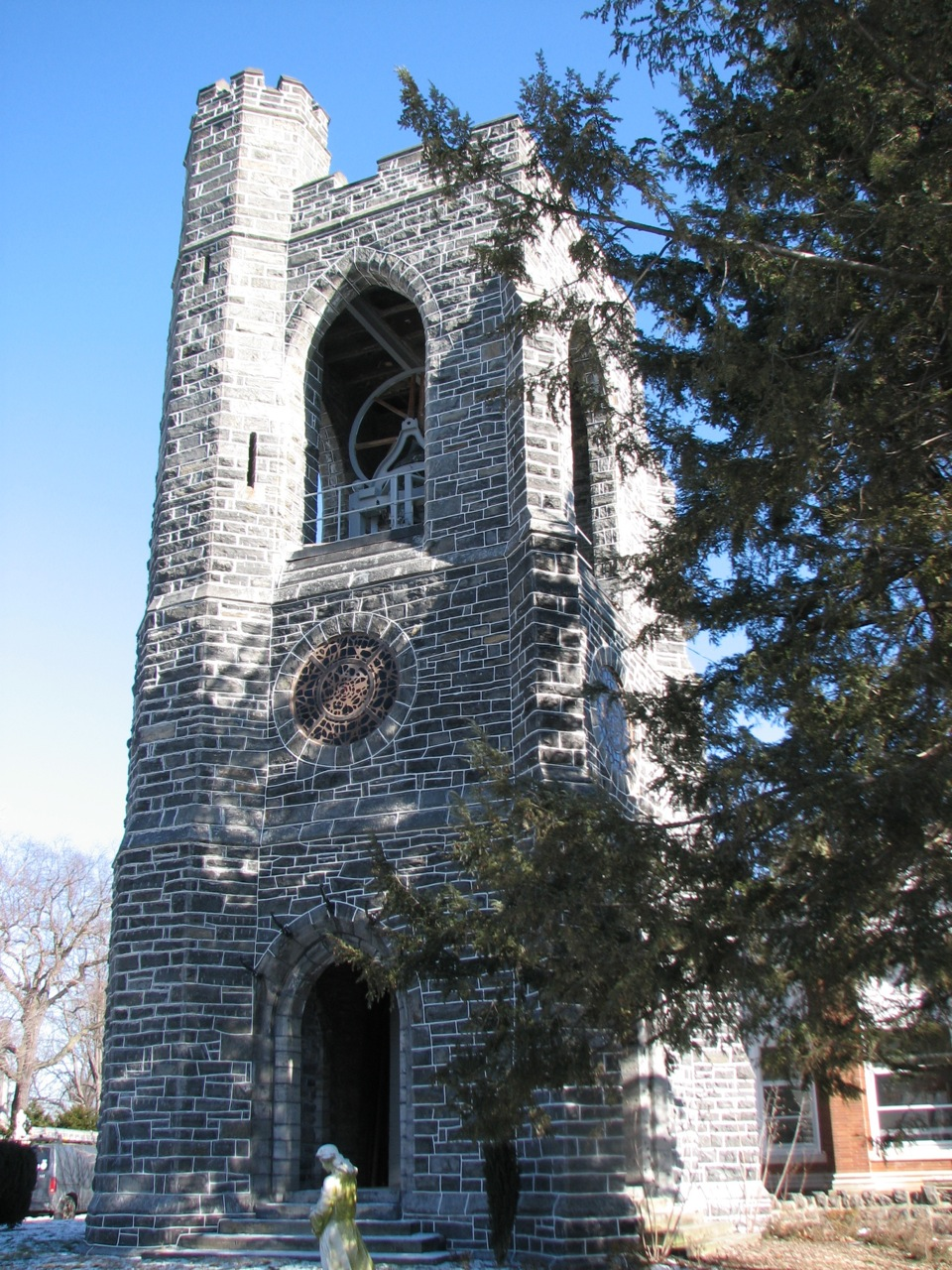 West Laurel Hill's Gothic Revvial bell tower was designed by architects Walter Cope and John Stewardson