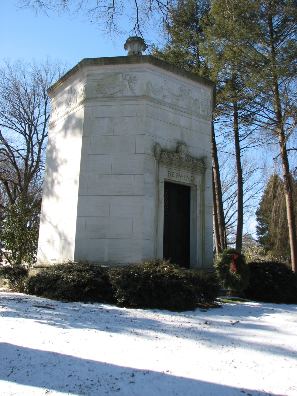 The octagonal Classical Revival mausoleum designed for the Berwind family.
