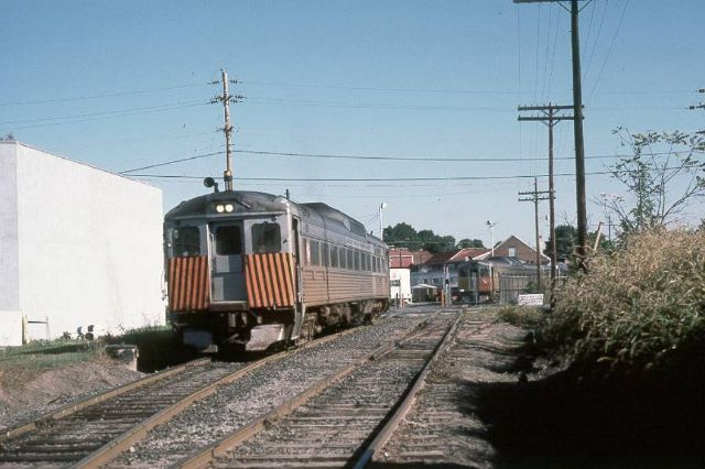 BEFORE and AFTER - RDC Leaving Newtown Station 1982 with the track to the right leading to the yard, and the immediate switch to