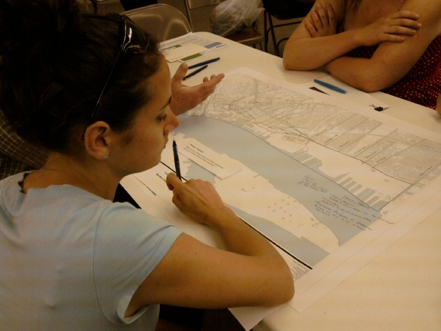 In small groups, residents discussed what they would like to see on the river