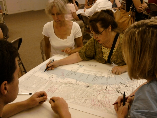One group discusses means of improving streets that end at or near the water