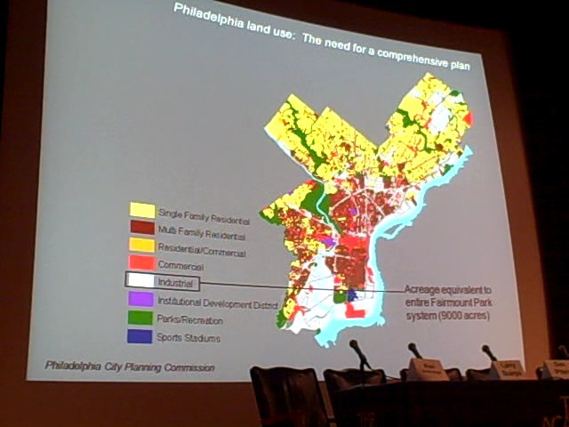 Industrial land use is, by acreage, equivalent to the entire Fairmount Park system, according to the Planning Commission.