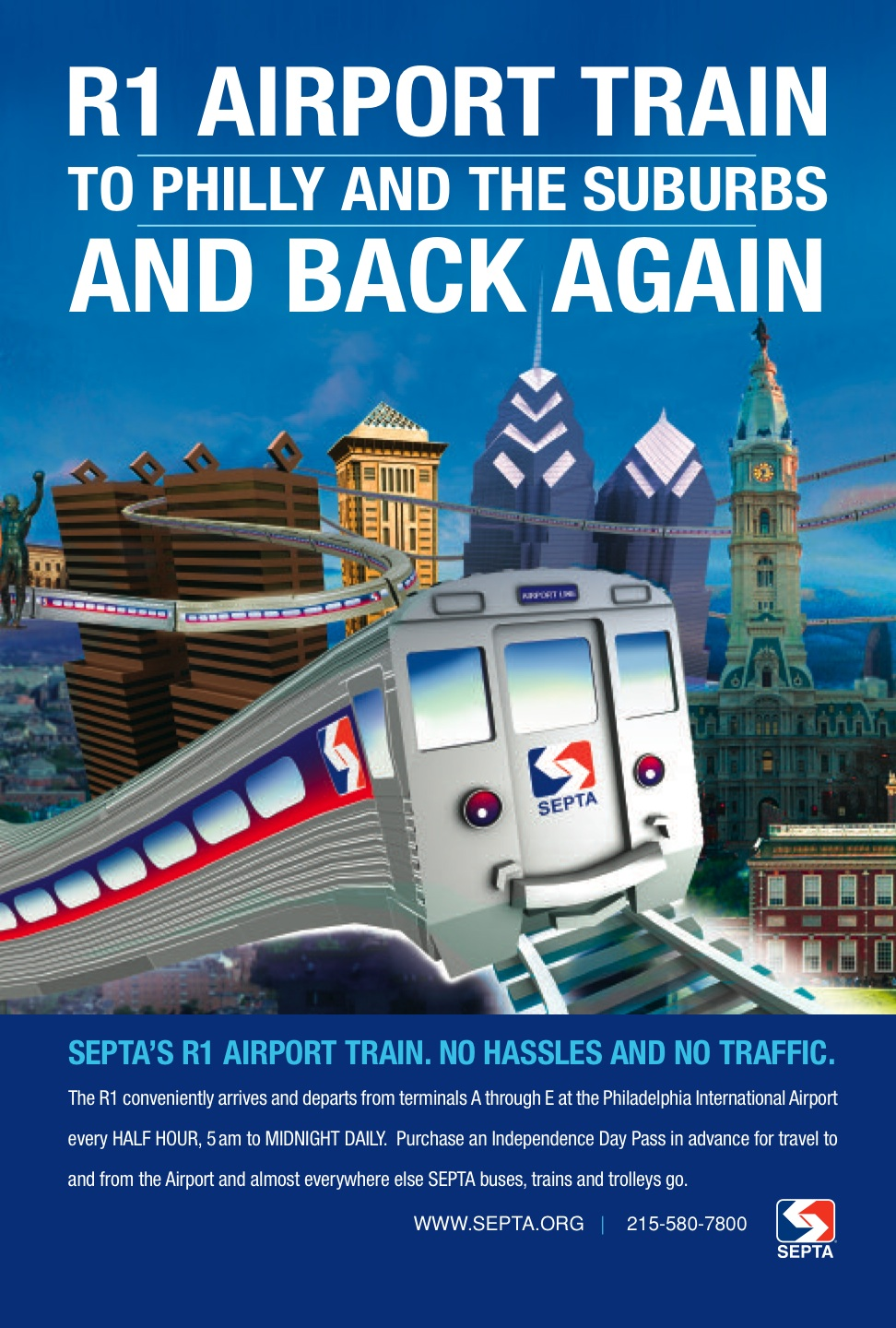 The R1 Line SEPTA advertisement promoting the service