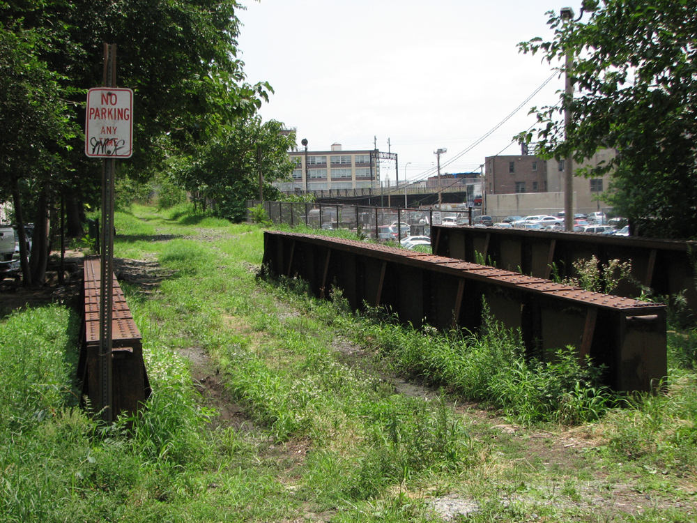 This view on the Reading Railroad Viaduct looks east, as it curves toward the Reading train shed.