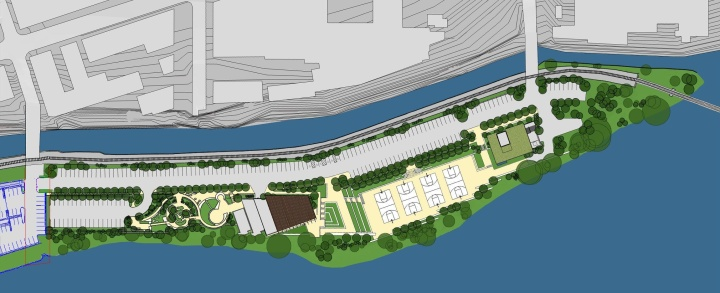 Aerial rendering of the future Venice Island | Philadelphia Water Department