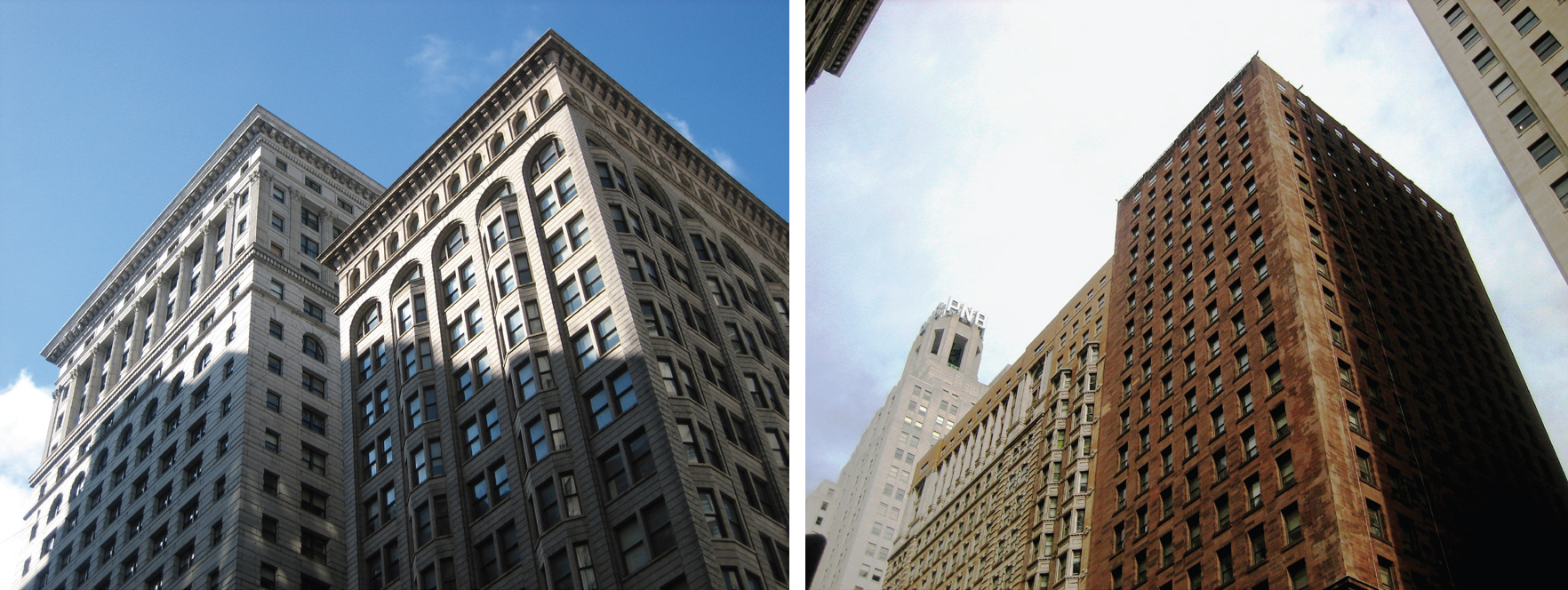 Land Title Building (l) and Real Estate Title and Trust, and North American buildings (r)