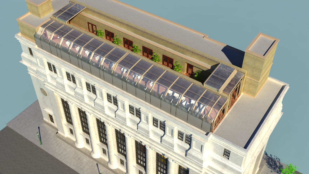 Rendering of 1200 Bank, a billiards hall planned at a former bank at 12th and Chestnut streets.
