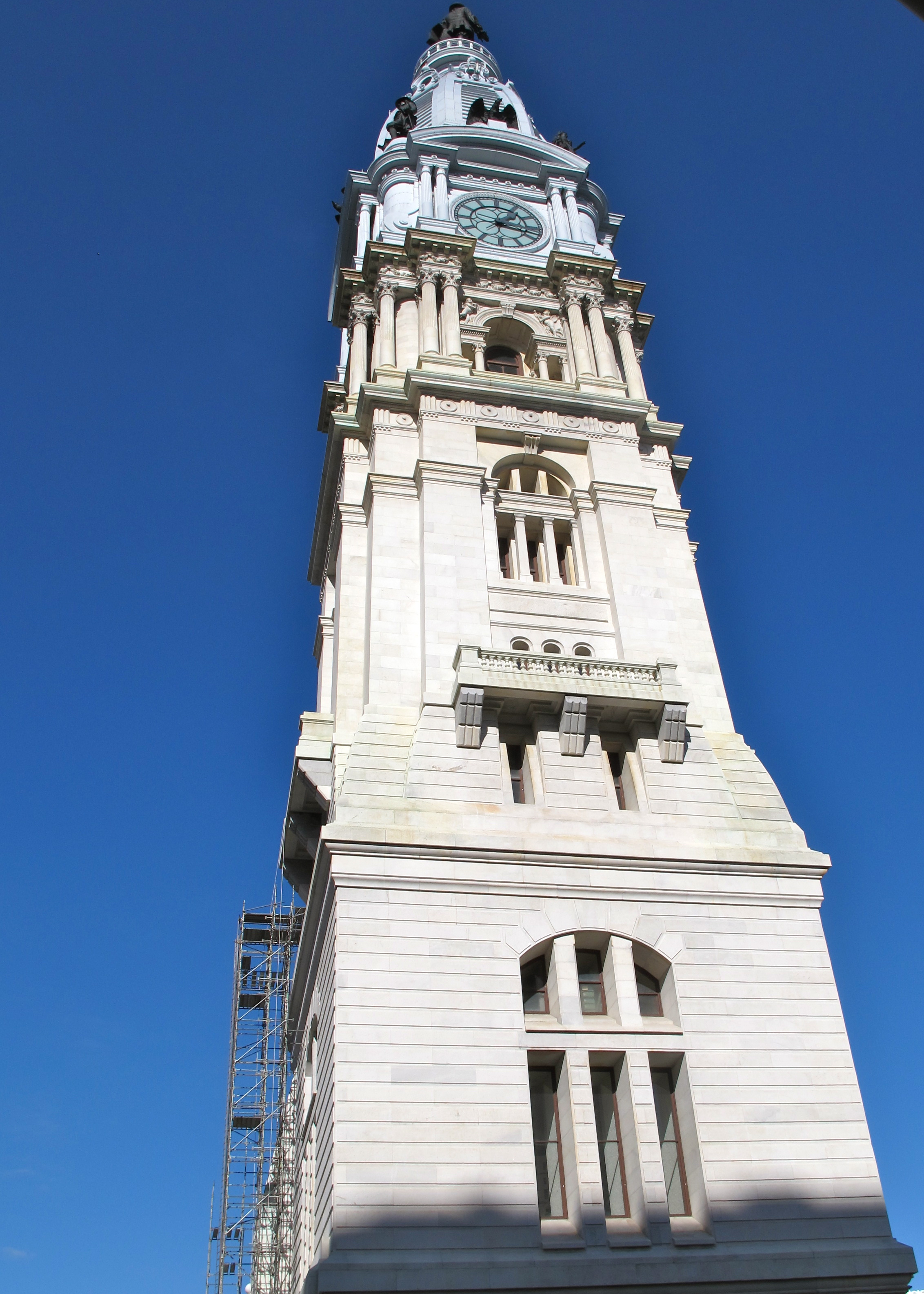 Scaffolding on City Hall tower this fall.