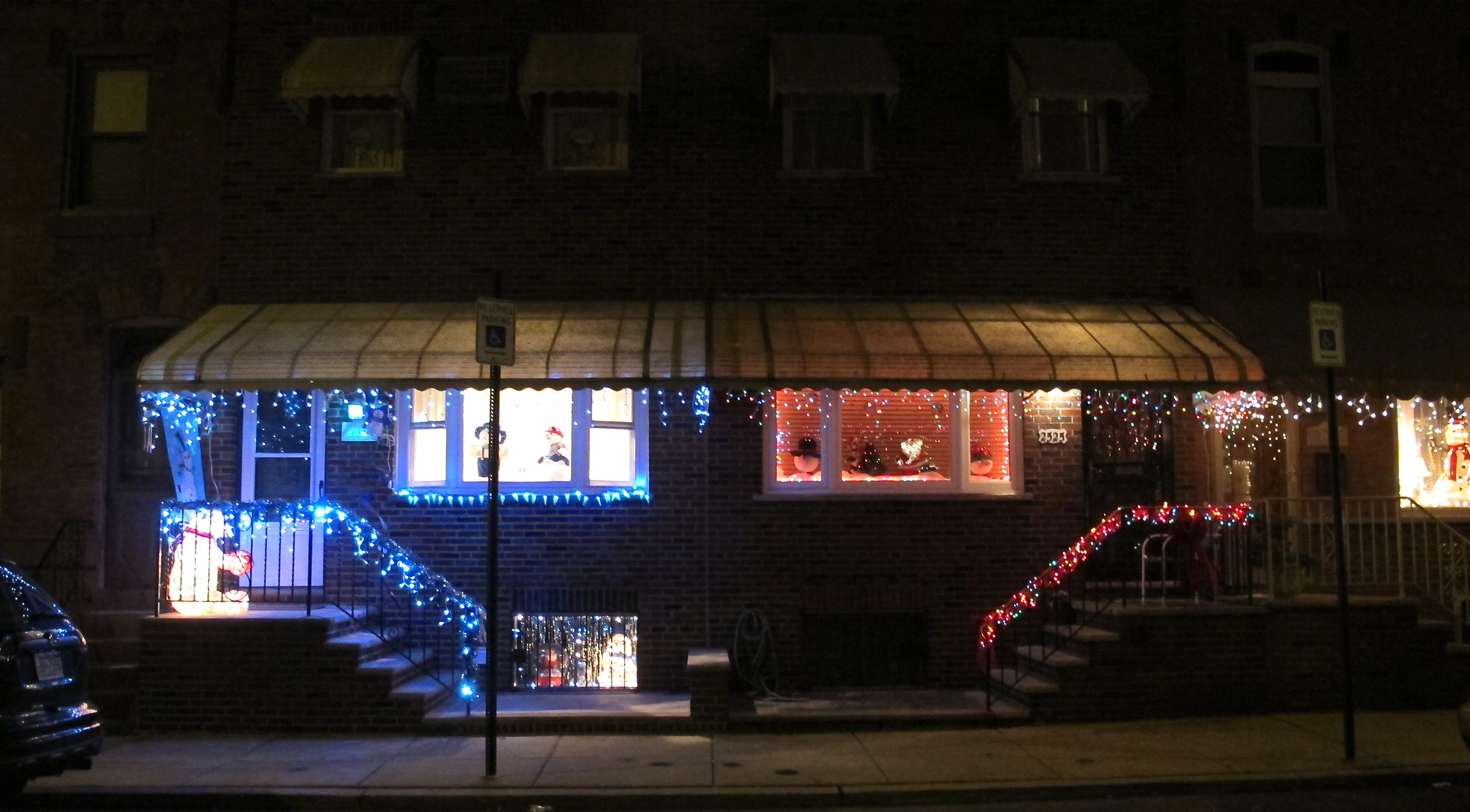 Holiday lights illuminate South 11th Street.