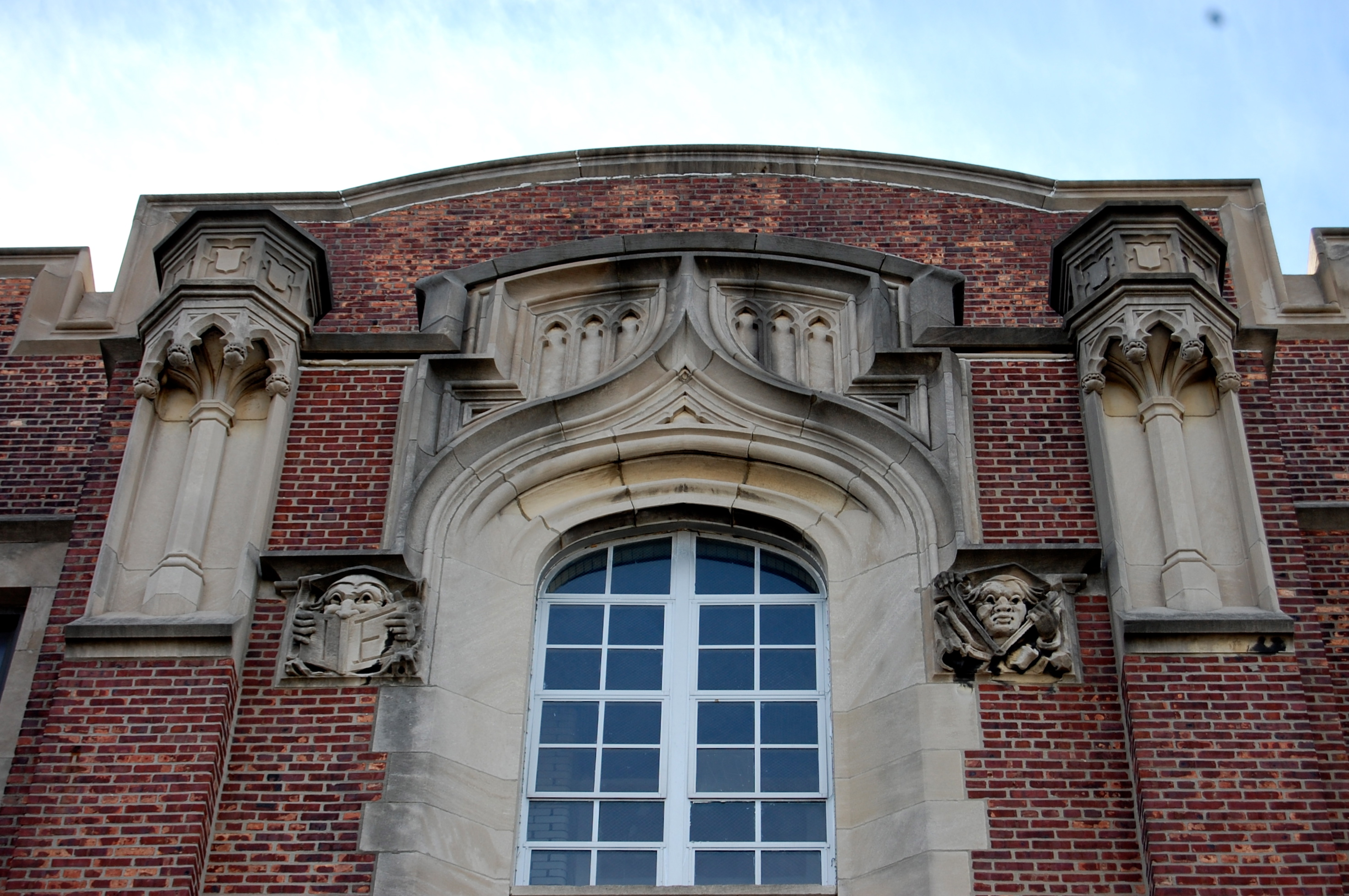 Gothic detail atop the old West Philadelphia High School | PlanPhilly