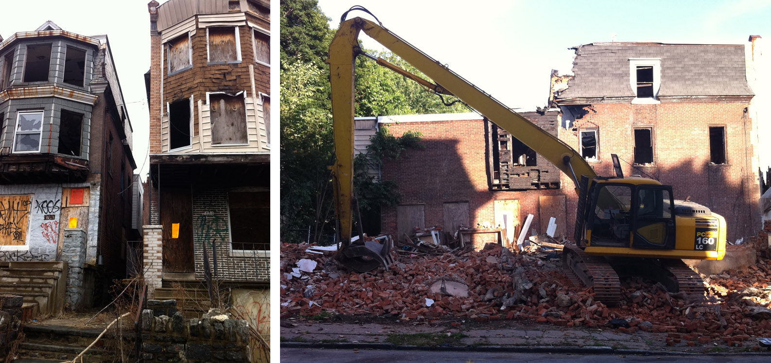 Vacant properties on West Rockland Street before and during demolition. One of the cleared lots was auctioned by PHA.  | courtesy of Aine Doley