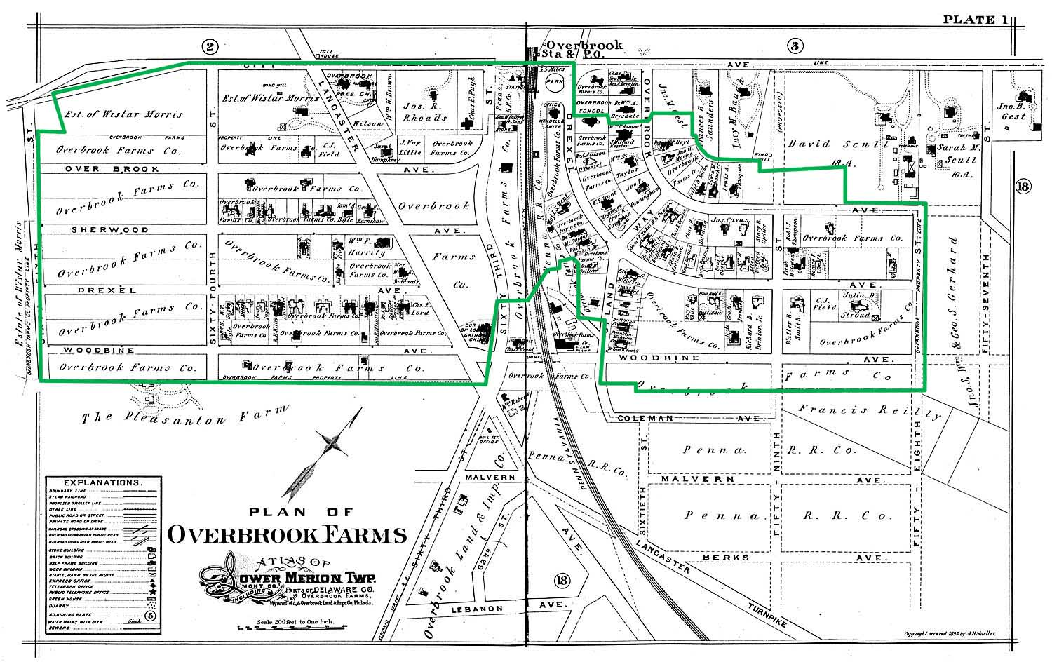 (1896 Plan of Overbrook Farms with rough outline of proposed historic district boundaries overlaid. (Click to enlarge) | 1896 Map from Lower Merion Public Library )