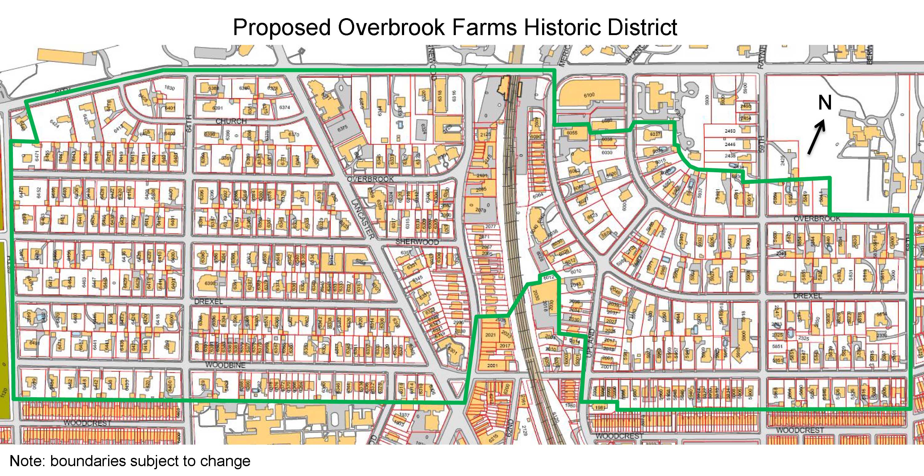 (Proposed boundaries of Overbrook Farm Historic District. | Philadelphia Historical Commission)