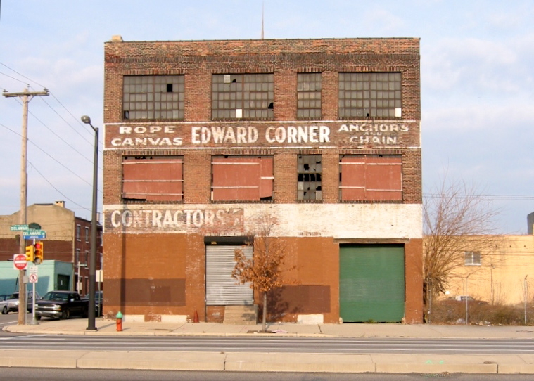 The Edward Corner building at Delaware and Shackamaxon formerly housed a marine supply company.