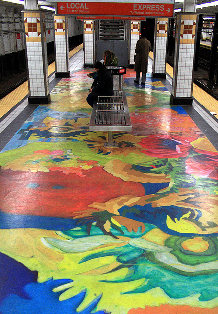 Washes of color on the floor of the Spring Garden station. | Subway Spring by Flickr user phillytrax, Eyes on the Street Flickr group
