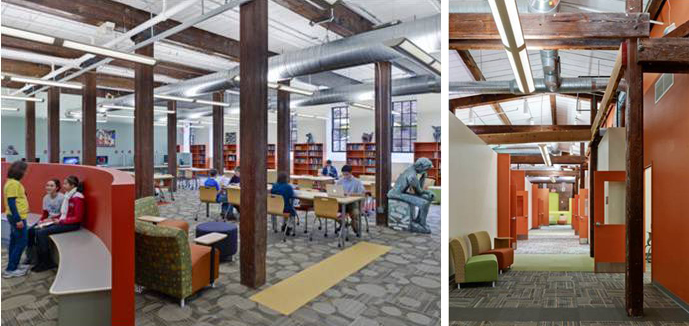 Left: Global Resource Center in the Academy in Manayunk (AIM), Right: Hallway in AIM | Blackney Hayes Architects