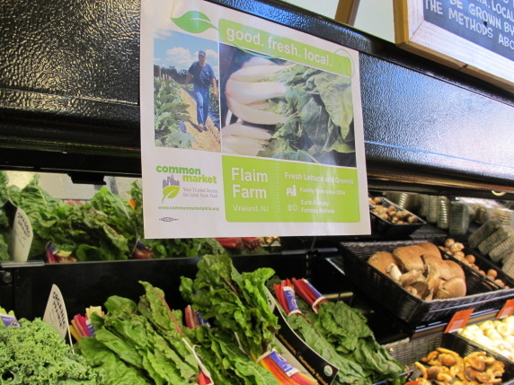 A sign in Mariposa tells customers which produce came from Common Market and where that food was sourced from.