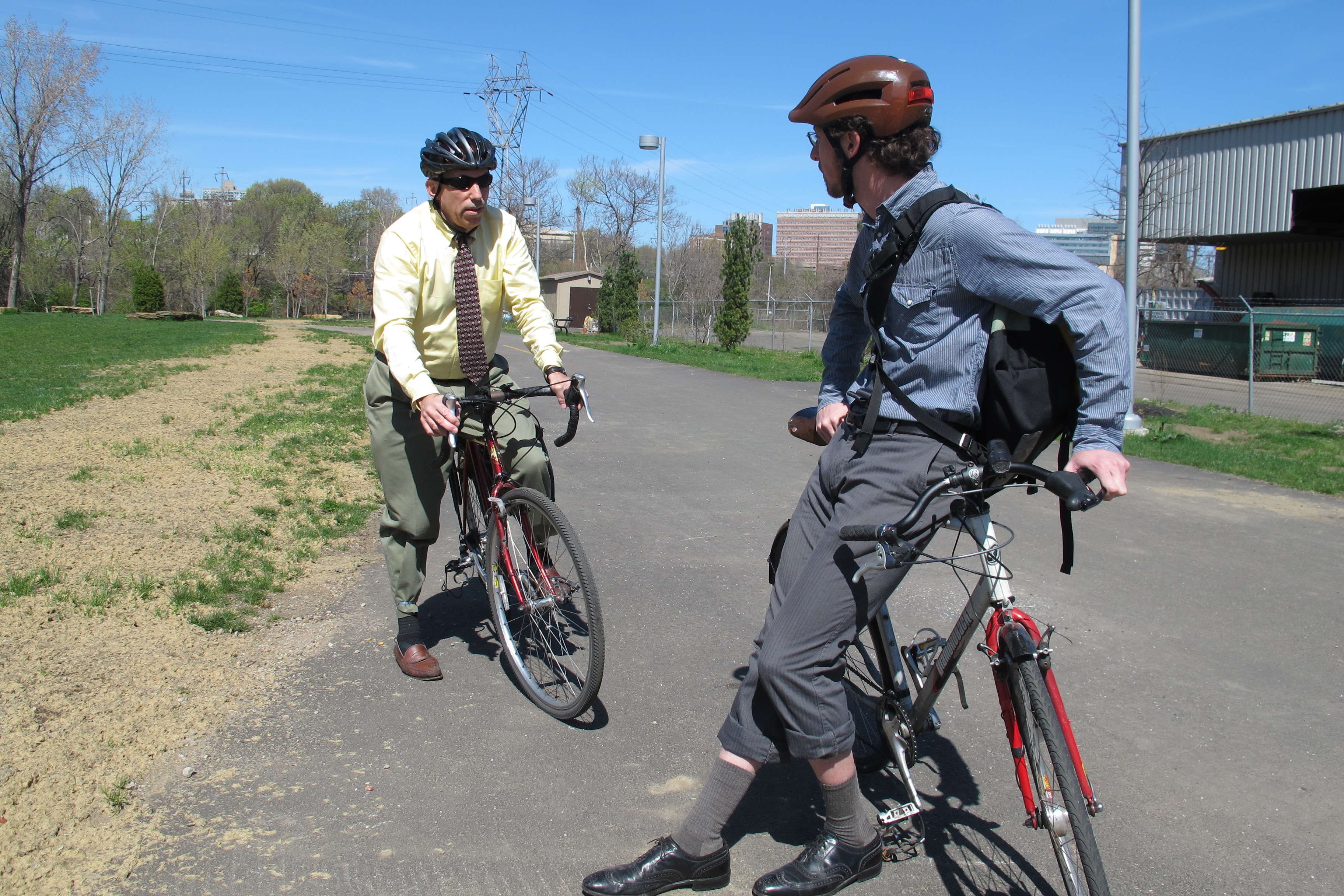 Charles and Aaron paused on the Gray's Ferry Crescent.