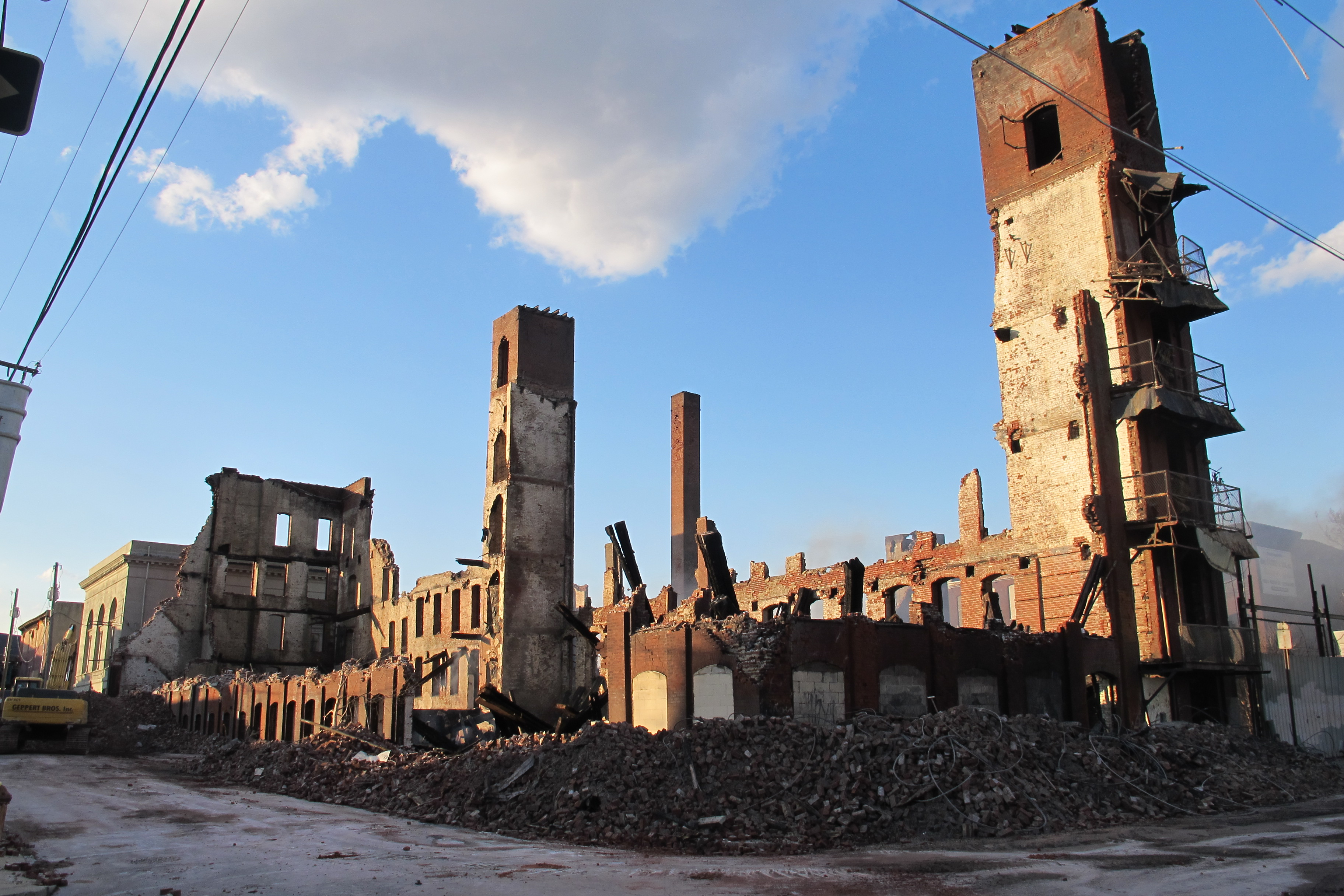 The former Buck Hosiery factory's rubble and charred remains.