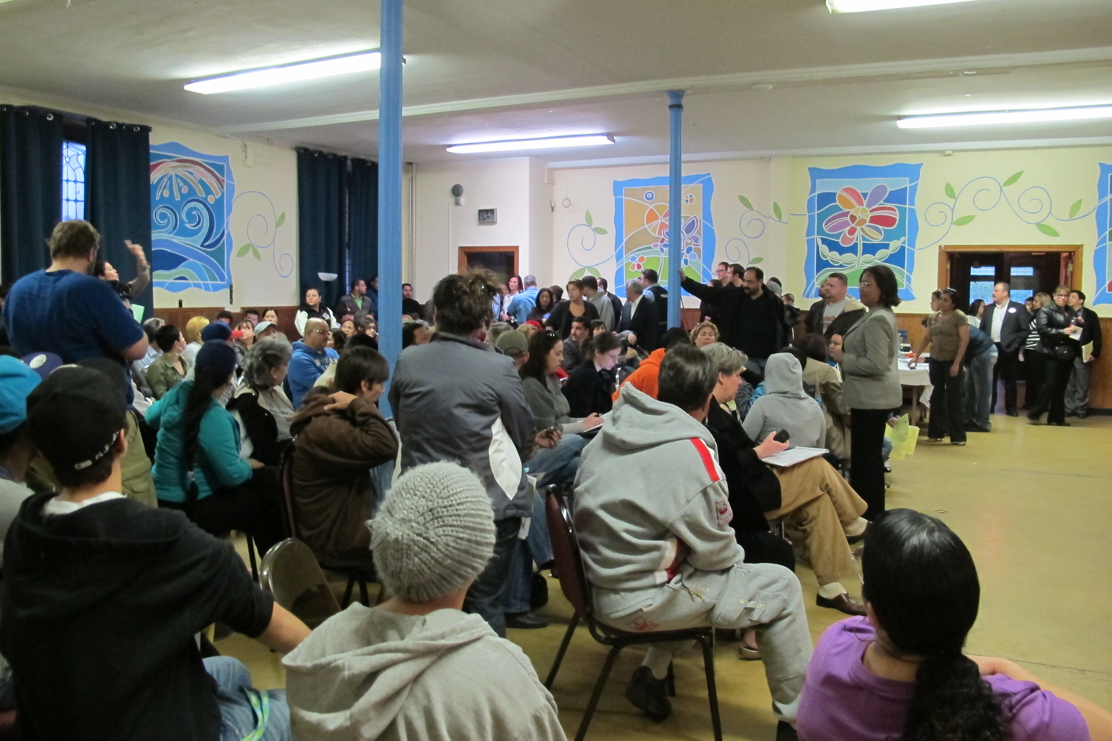Councilwoman Maria Quiñones-Sanchez talks rezoning and St. Bonfiace at a pitched community meeting on Monday night.