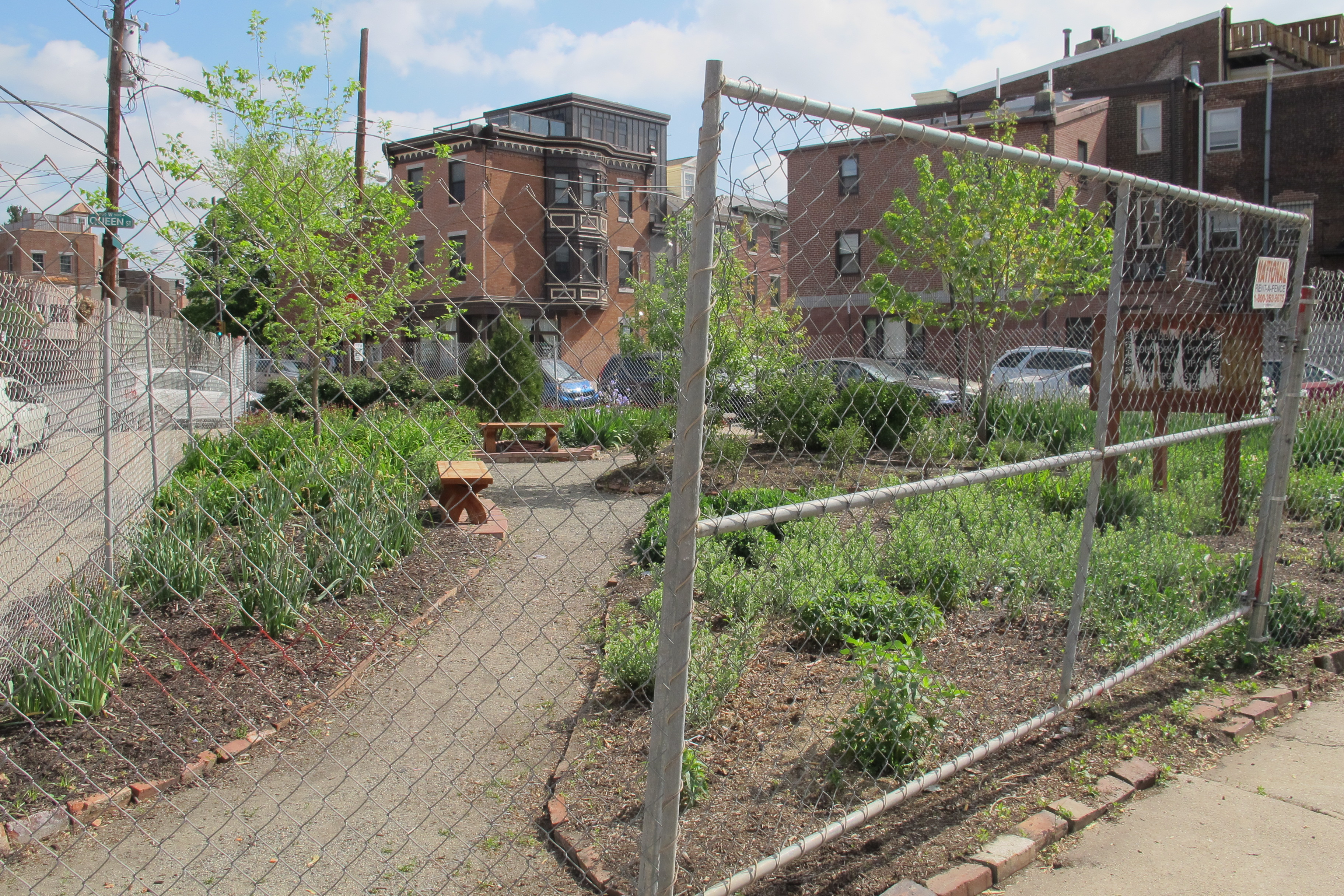 Triangle Park at 601 Christian Street was fenced by its owner, Stuart Schlaffman, last week.