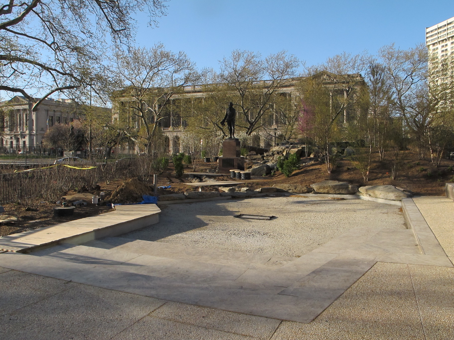 The children's discovery garden and boat pond in the new Sister Cities Park.