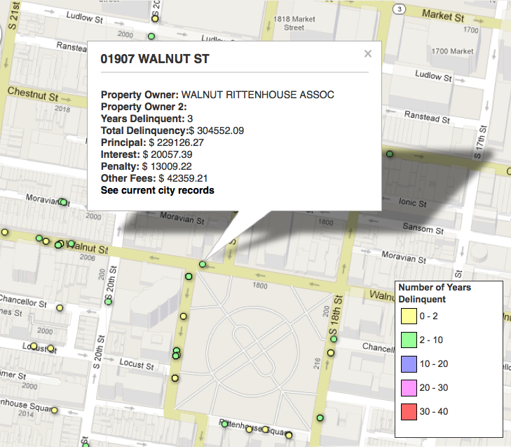 Screen capture from PlanPhilly's tax-delinquency web app showing amounts owed at 1907 Walnut Street as of March 31, 2012.